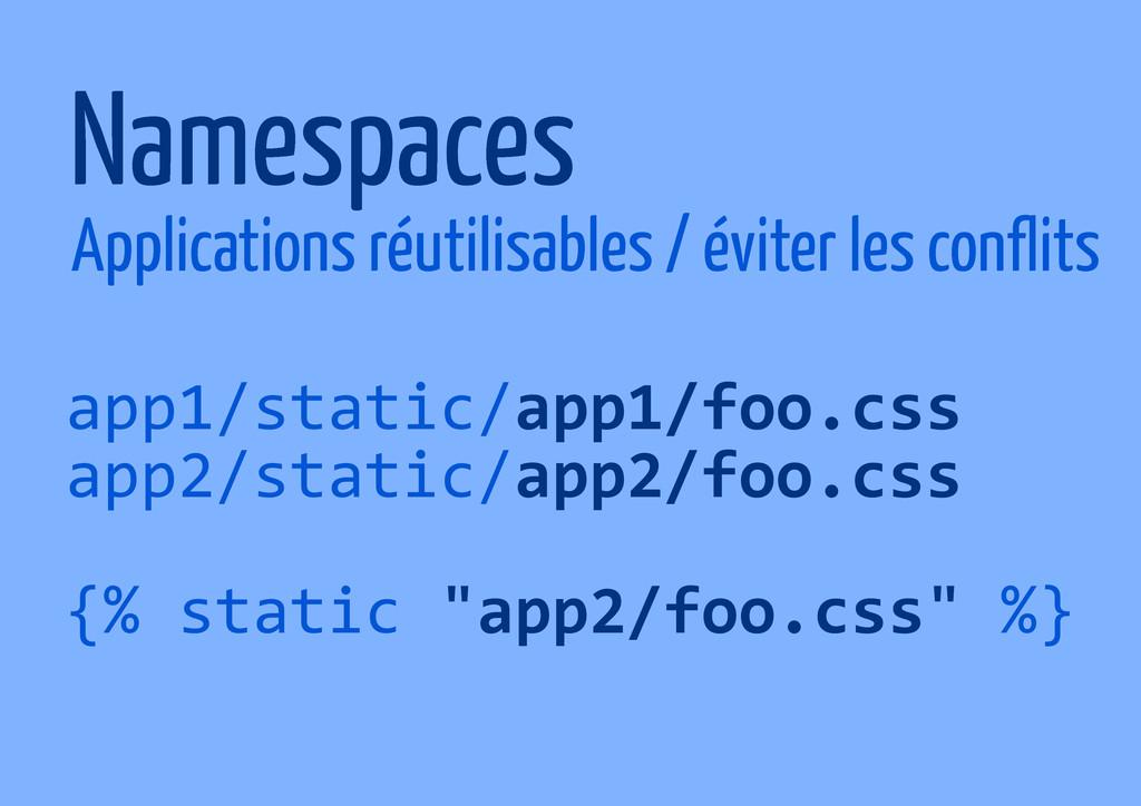 Namespaces Applications réutilisables / éviter ...