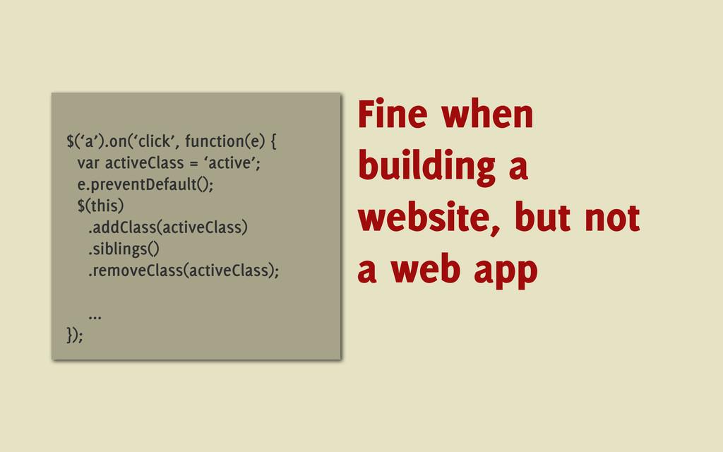 $('a').on('click', function(e) { var activeClas...