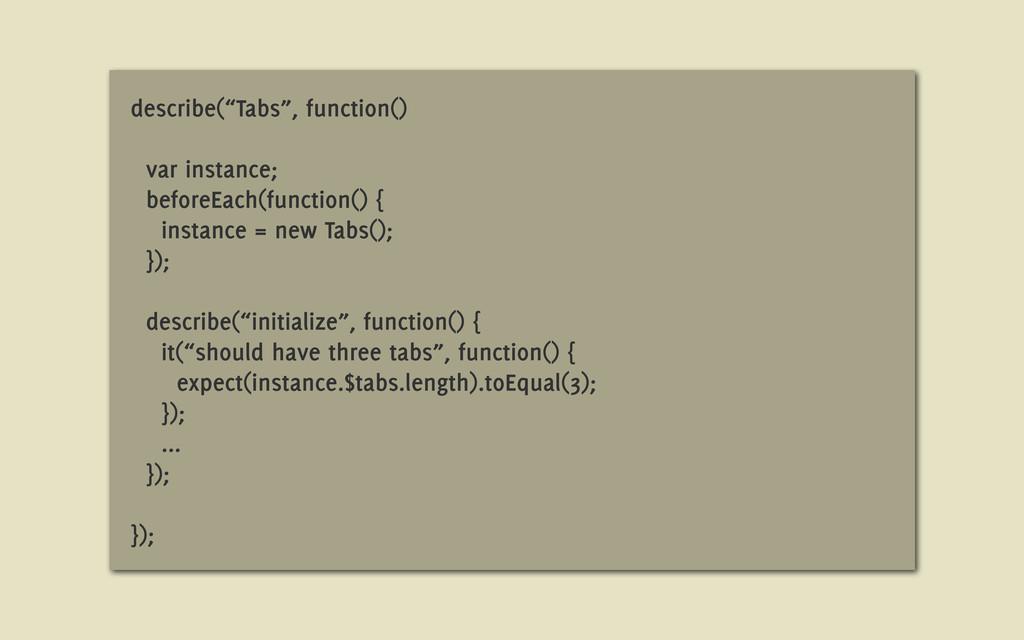 """describe(""""Tabs"""", function() var instance; befor..."""