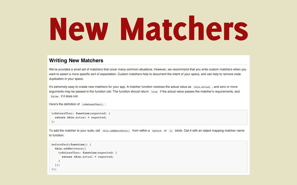 New Matchers
