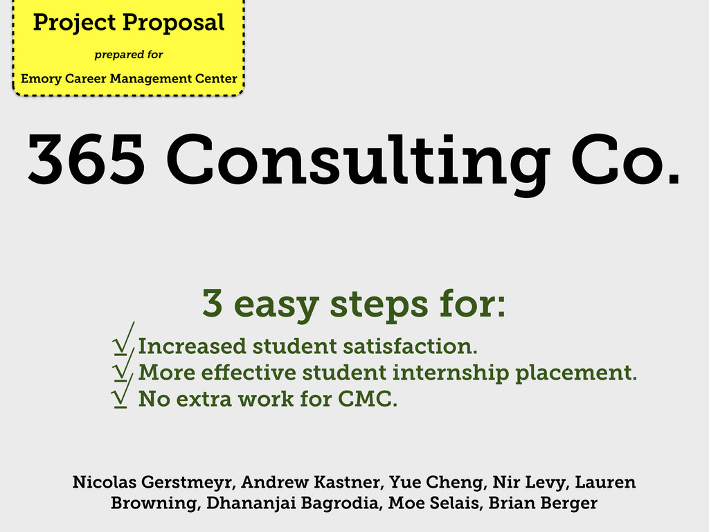 Project Proposal Emory Career Management Center...