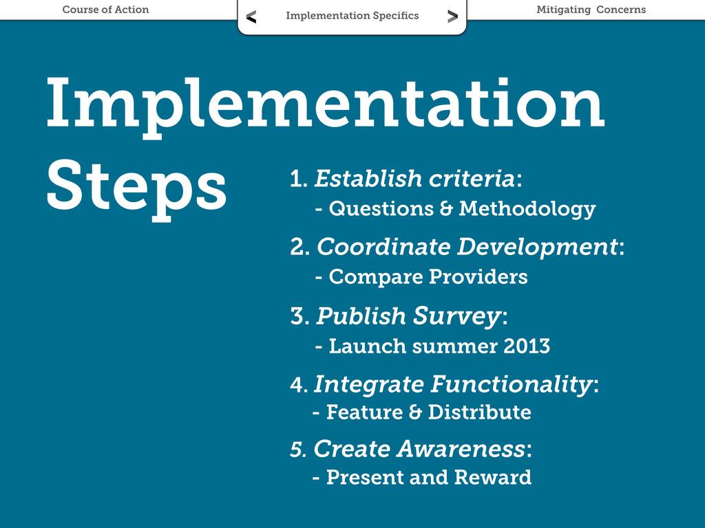 Implementation Steps 1. Establish criteria: - Q...