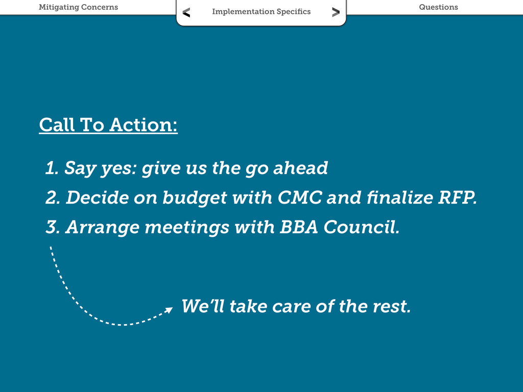 Call To Action: 1. Say yes: give us the go ahea...