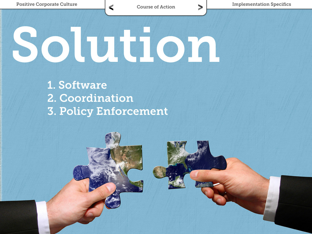 Solution 1. Software 2. Coordination 3. Policy ...