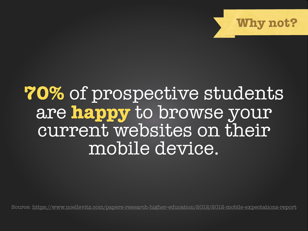 Text Why not? 70% of prospective students are h...