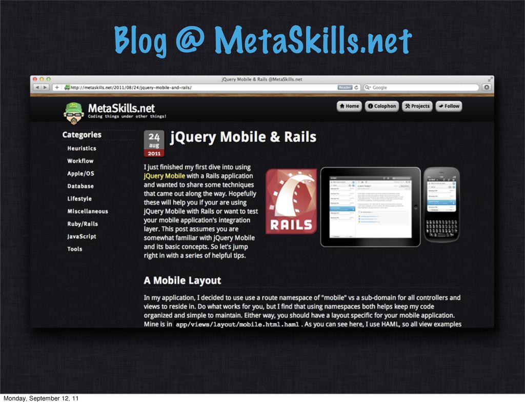 Blog @ MetaSkills.net Monday, September 12, 11