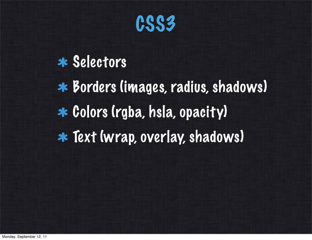 CSS3 Selectors Borders (images, radius, shadows...