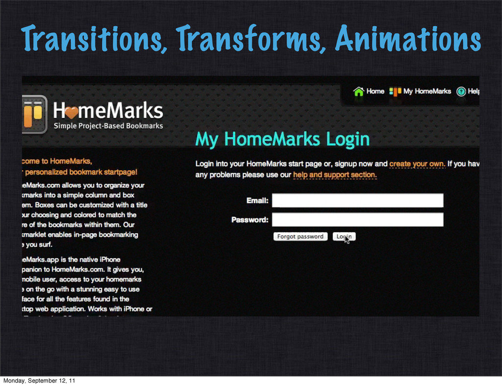 Transitions, Transforms, Animations Monday, Sep...