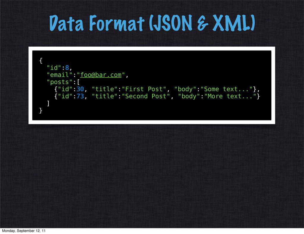 "Data Format (JSON & XML) { ""id"":8, ""email"":""foo..."