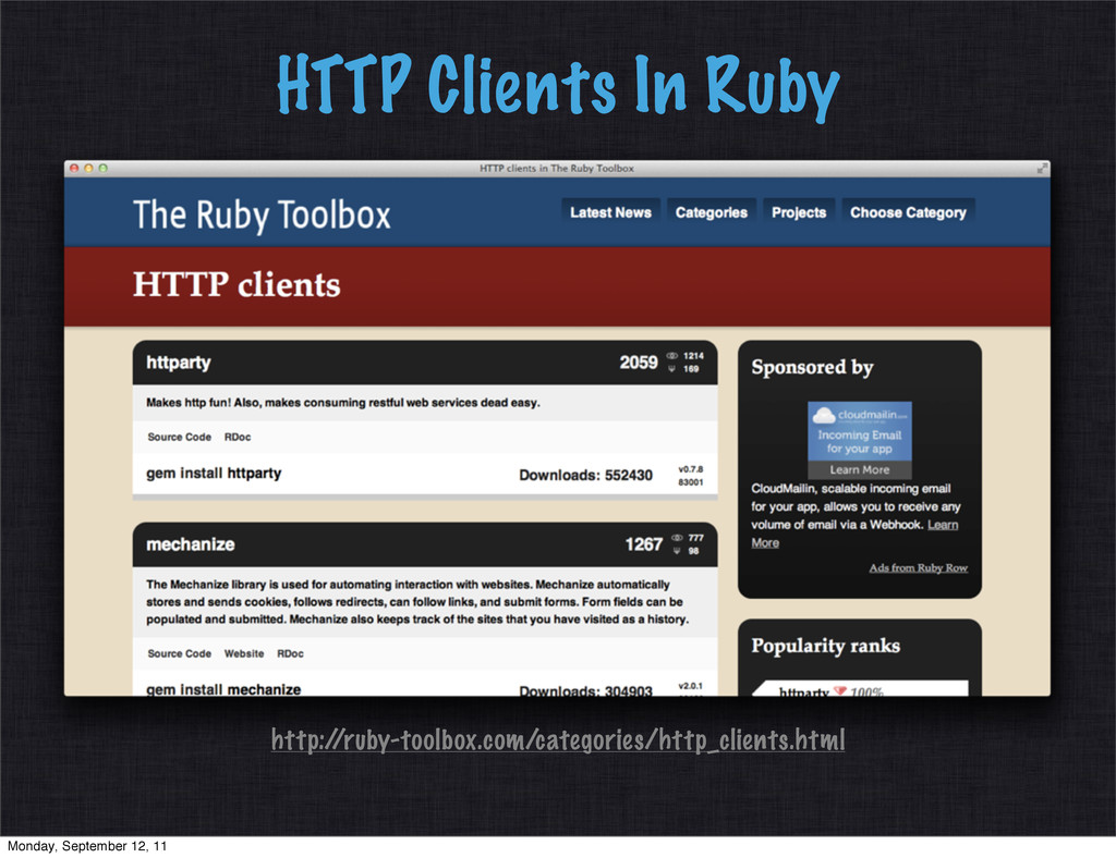 HTTP Clients In Ruby http:/ /ruby-toolbox.com/c...
