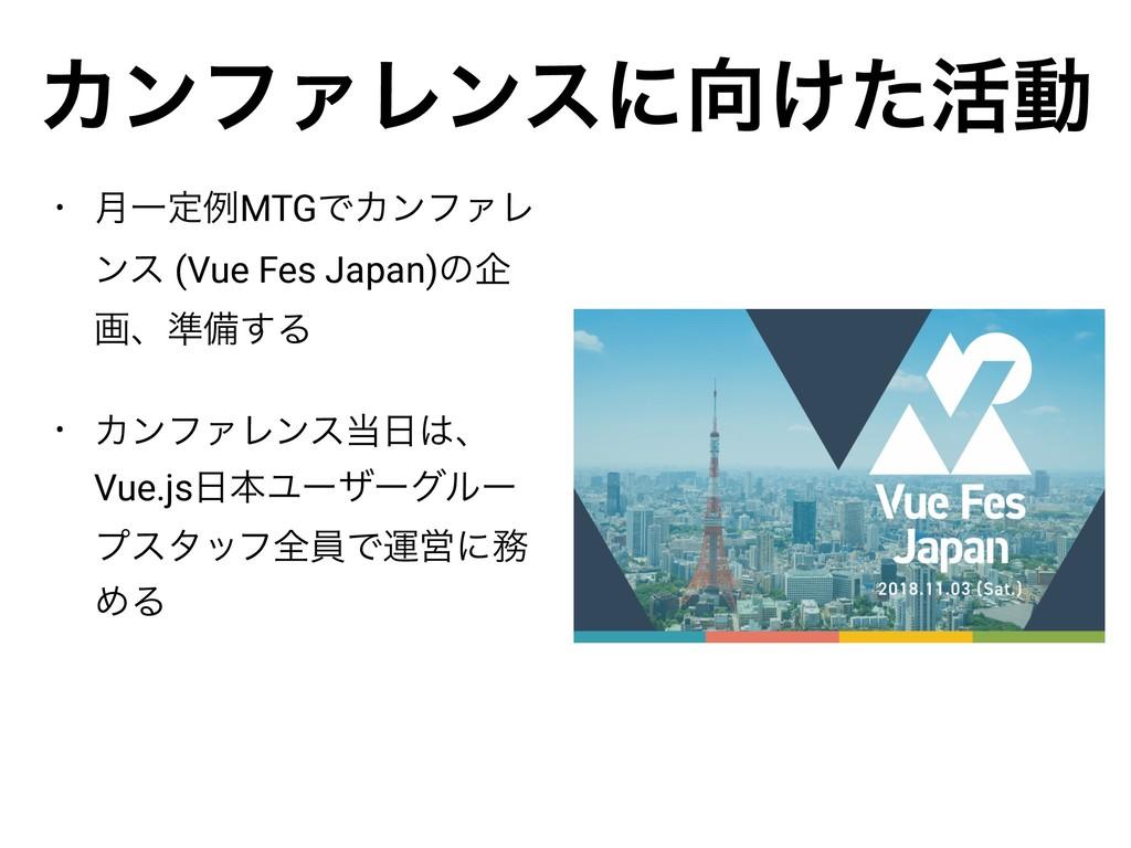 • ݄ҰఆྫMTGͰΧϯϑΝϨ ϯε (Vue Fes Japan)ͷا ըɺ४උ͢Δ • Χ...