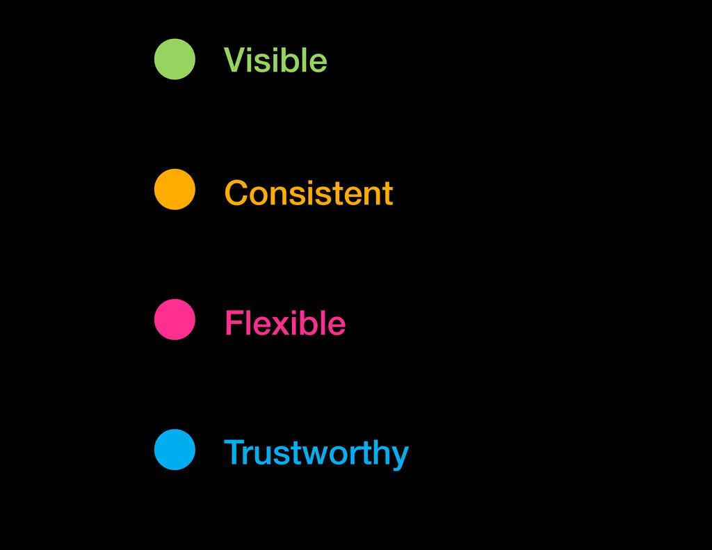 Visible Flexible Consistent Trustworthy