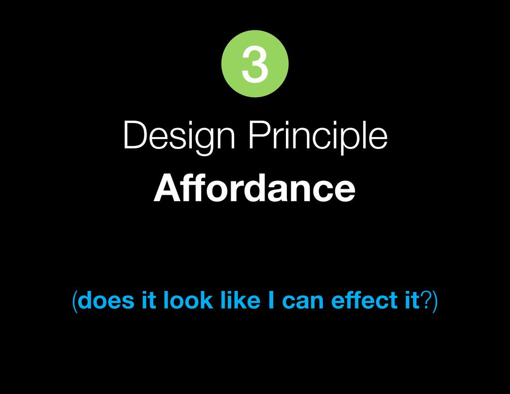 Design Principle Affordance (does it look like ...
