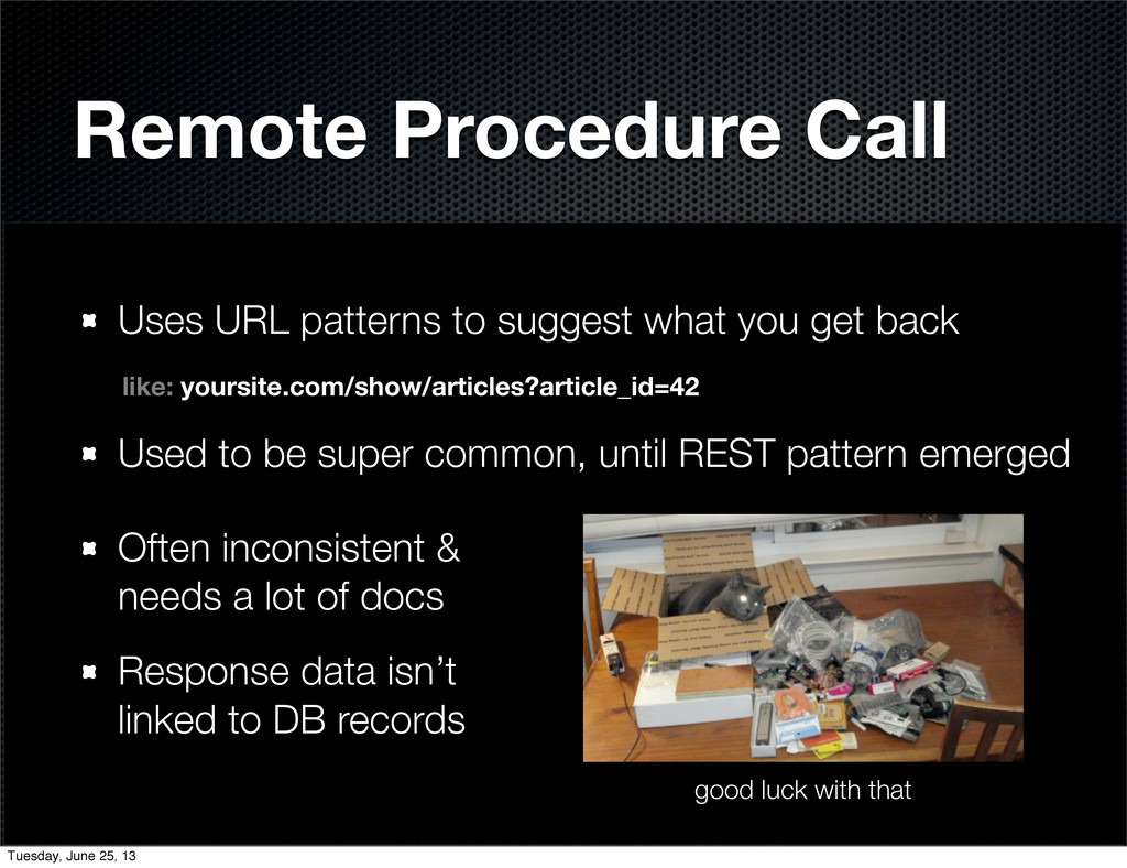 Remote Procedure Call Uses URL patterns to sugg...