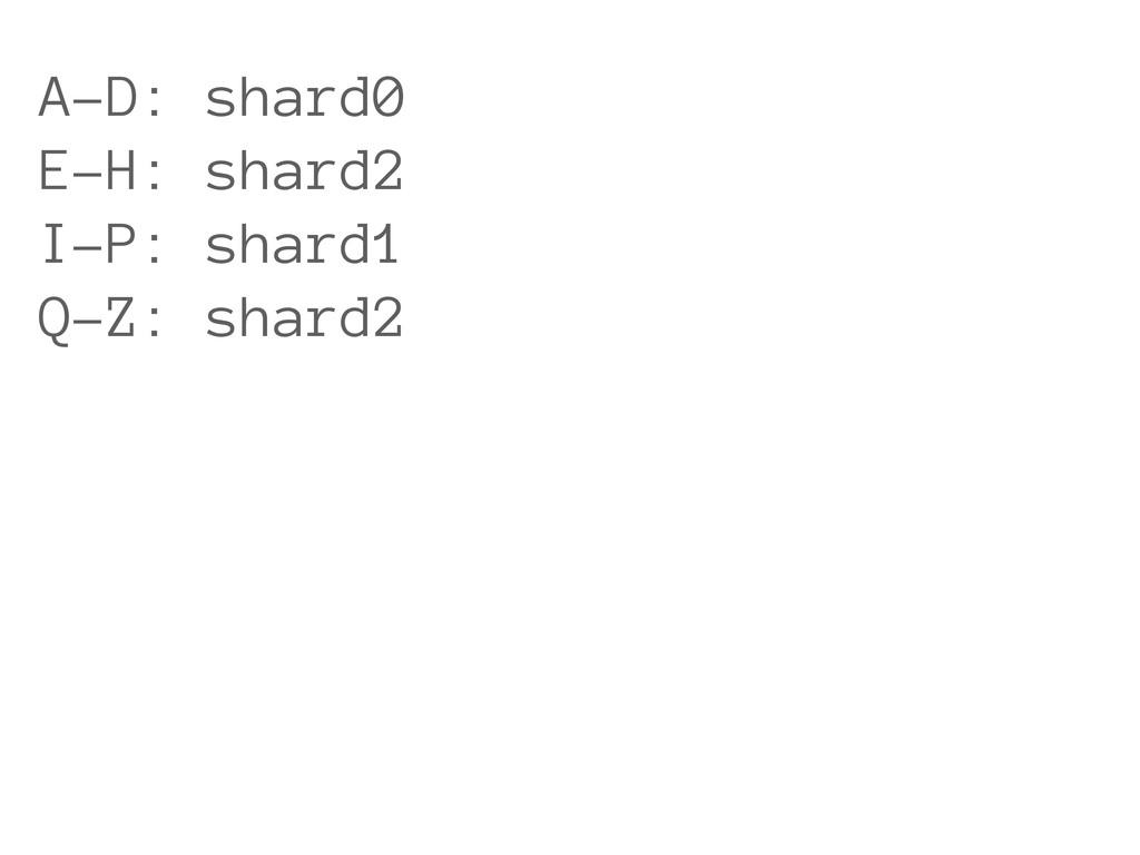 A-D: shard0 E-H: shard2 I-P: shard1 Q-Z: shard2