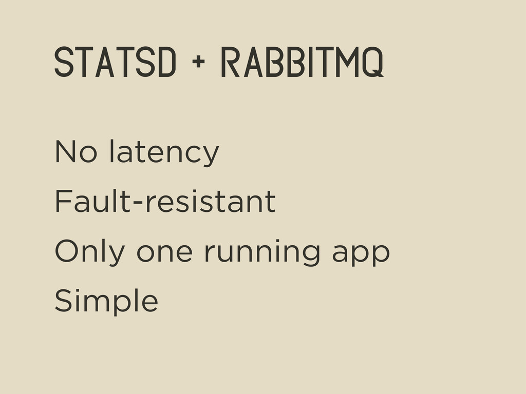 statsd + rabbitmq No latency Fault-resistant On...