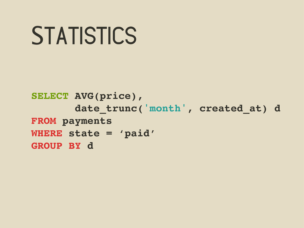 Statistics SELECT AVG(price), date_trunc('month...