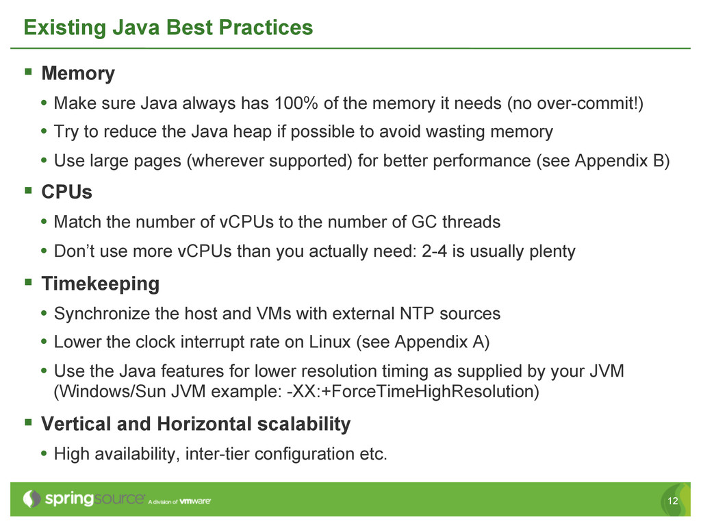 12 Existing Java Best Practices § Memory • M...