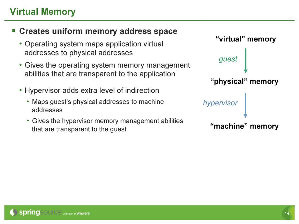 14 Virtual Memory § Creates uniform memory ad...