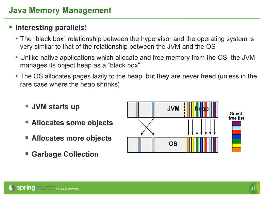 28 Java Memory Management § Interesting paral...