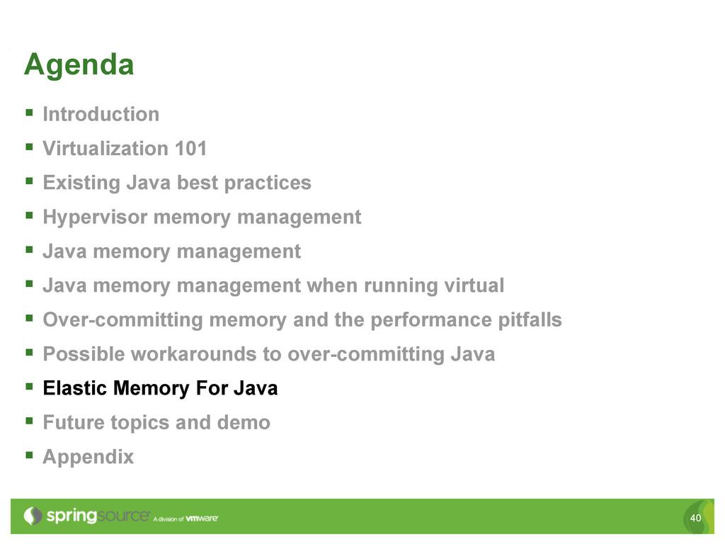 40 Agenda § Introduction § Virtualization 1...