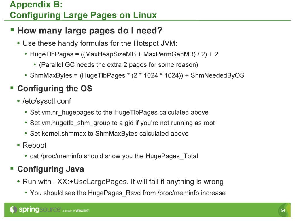 54 Appendix B: Configuring Large Pages on Linux...