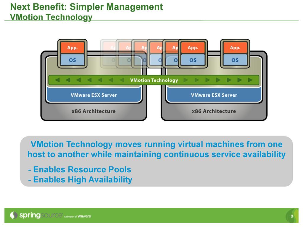 8 Next Benefit: Simpler Management VMotion Tech...