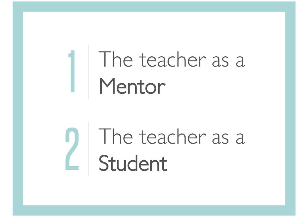 1 The teacher as a Mentor 2 The teacher as a St...