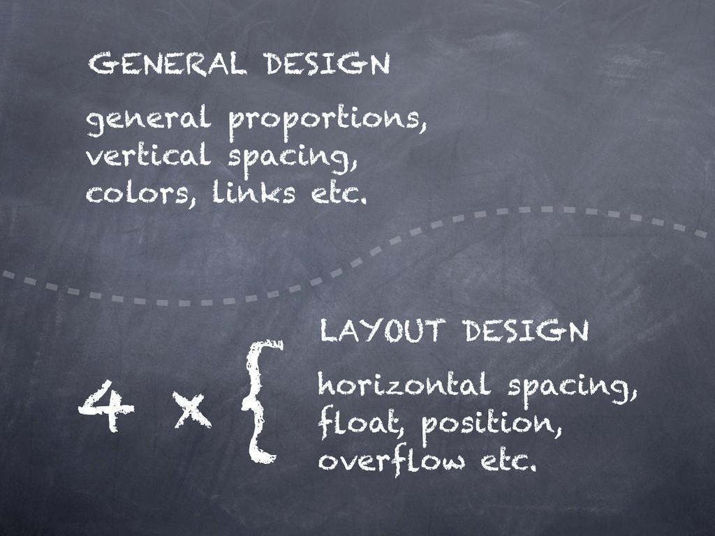general proportions, vertical spacing, colors, ...