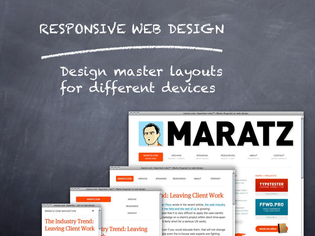 RESPONSIVE WEB DESIGN Design master layouts for...