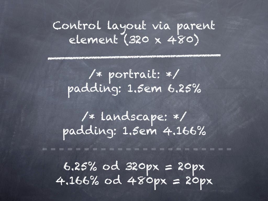 Control layout via parent element (320 x 480) /...