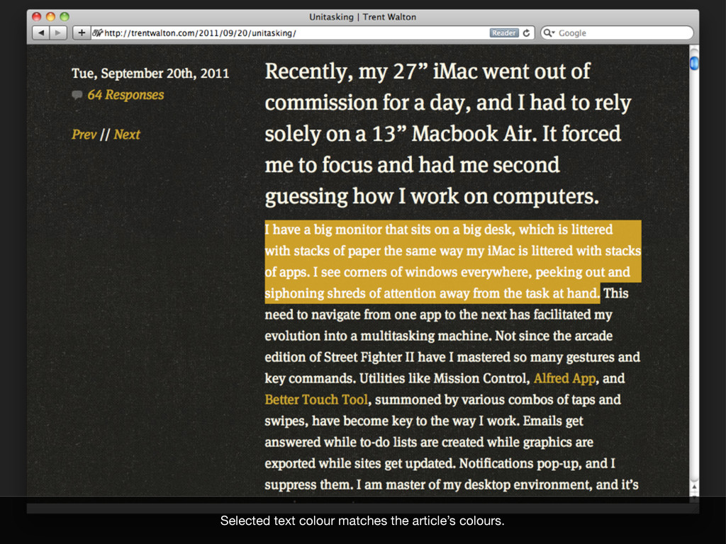 Selected text colour matches the article's colo...