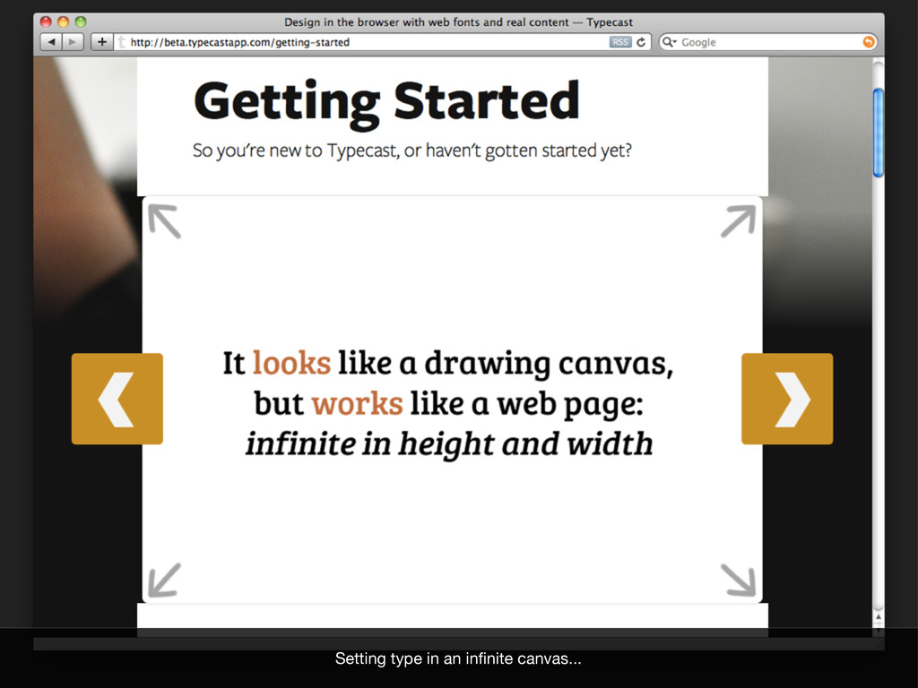 Setting type in an infinite canvas...