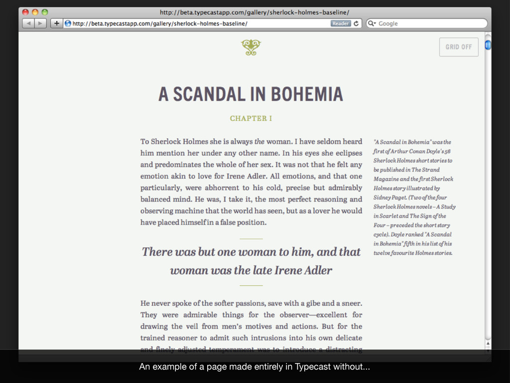 An example of a page made entirely in Typecast ...
