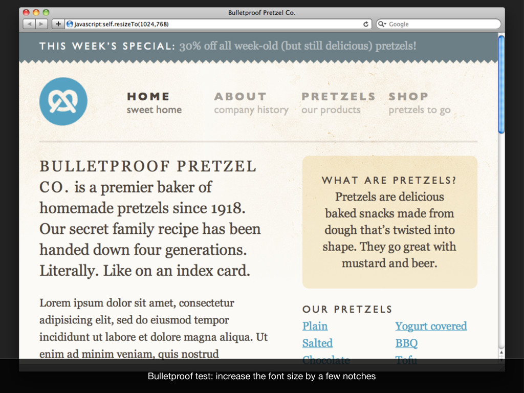 Bulletproof test: increase the font size by a f...