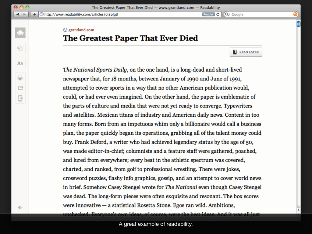 A great example of readability.