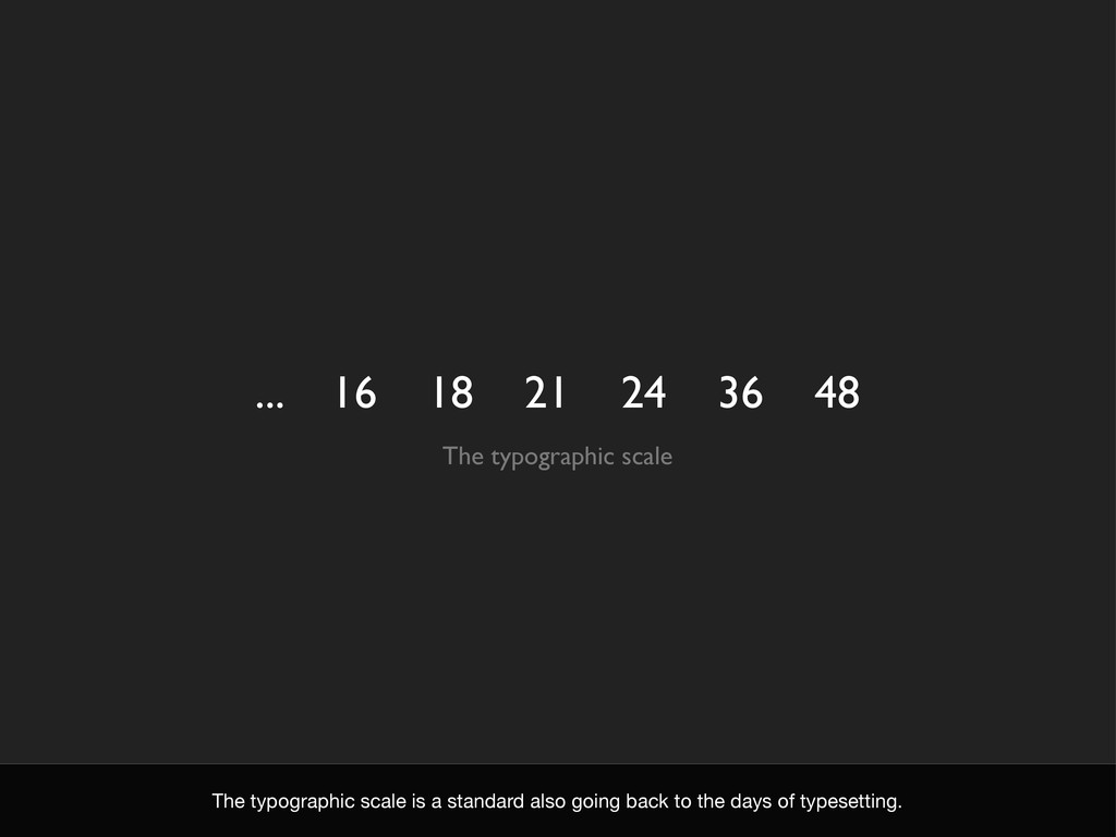 ... 16 18 21 24 36 48 The typographic scale The...