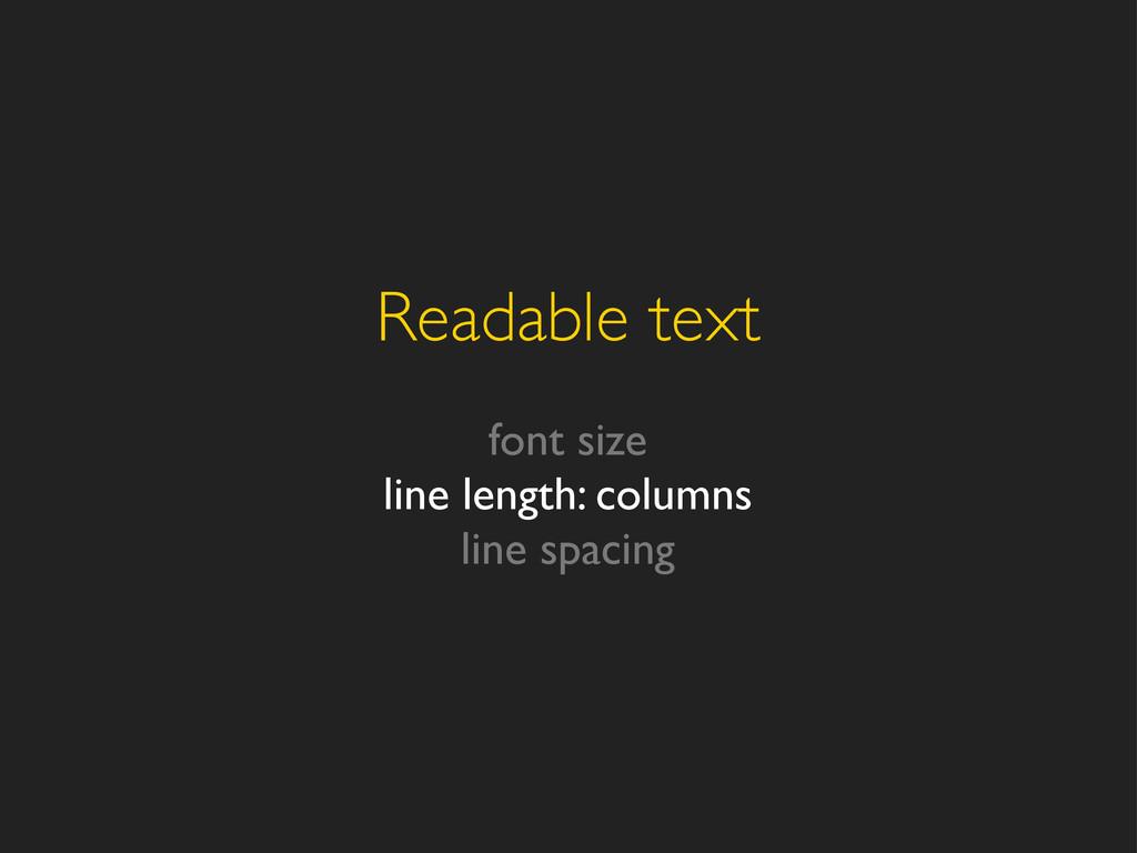 Readable text font size line length: columns li...