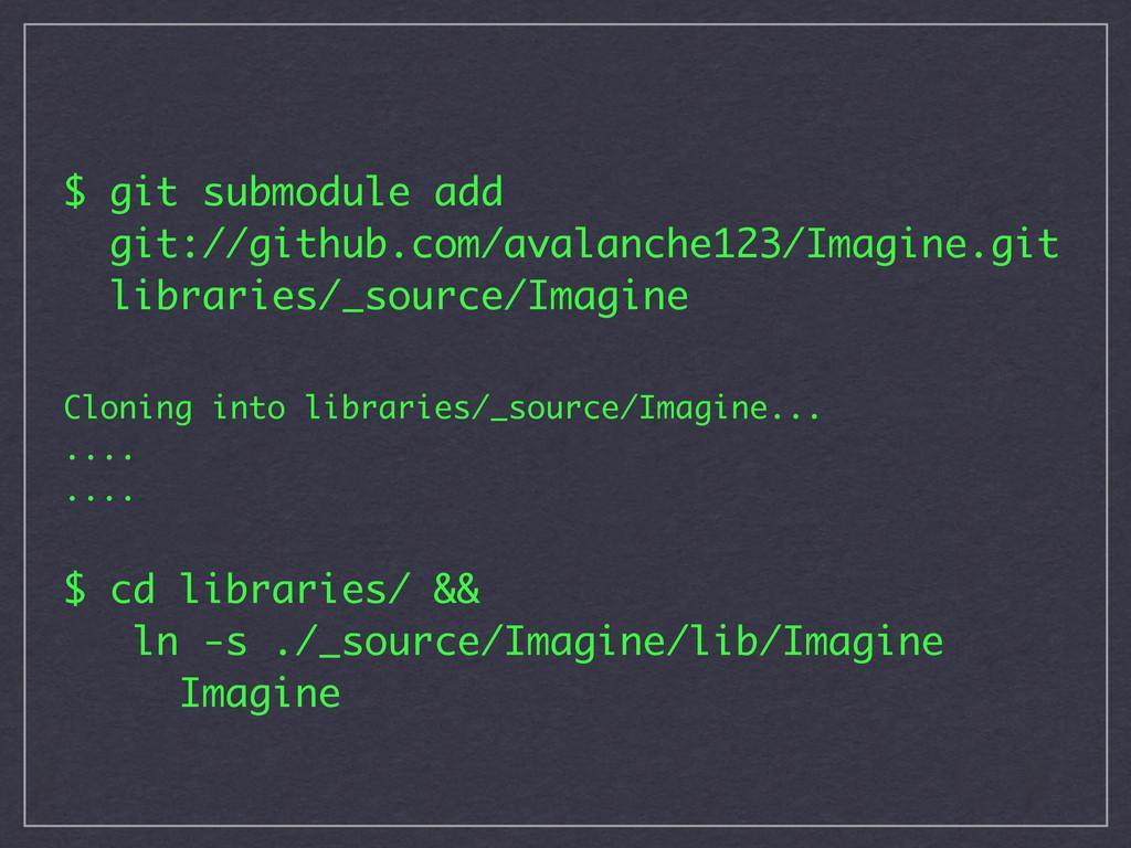 $ git submodule add git://github.com/avalanche1...
