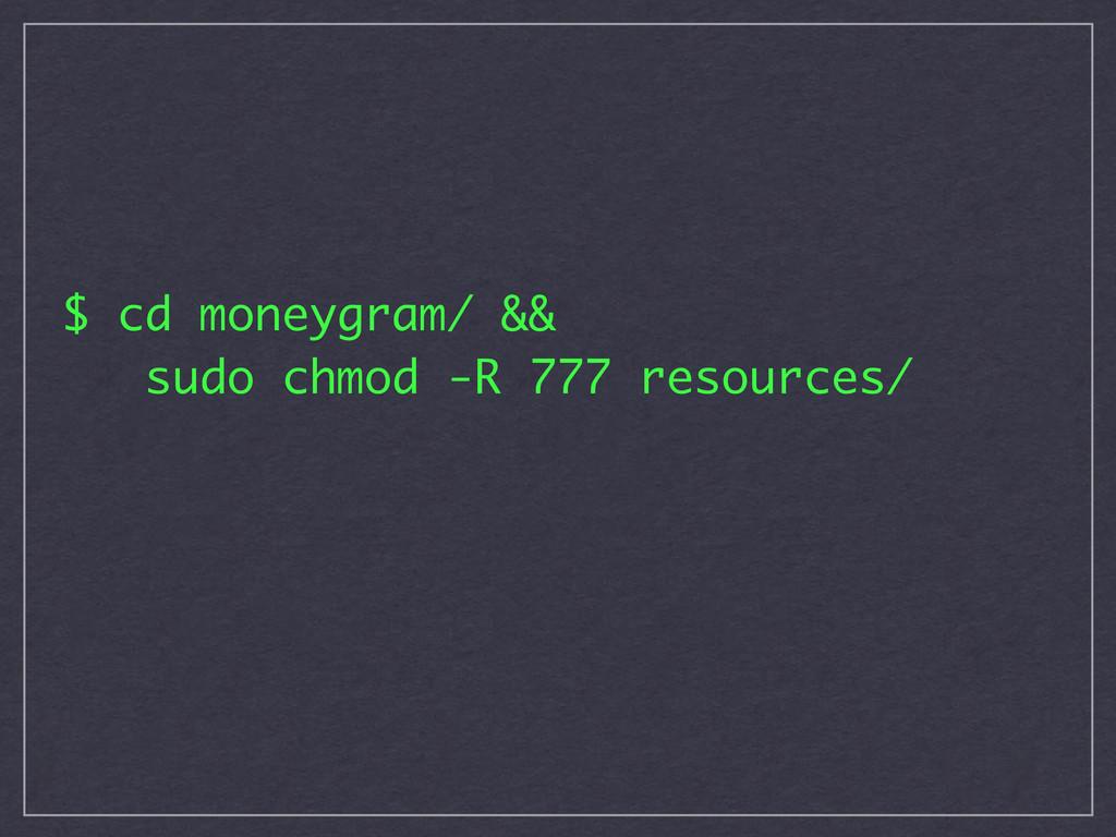 $ cd moneygram/ && sudo chmod -R 777 resources/