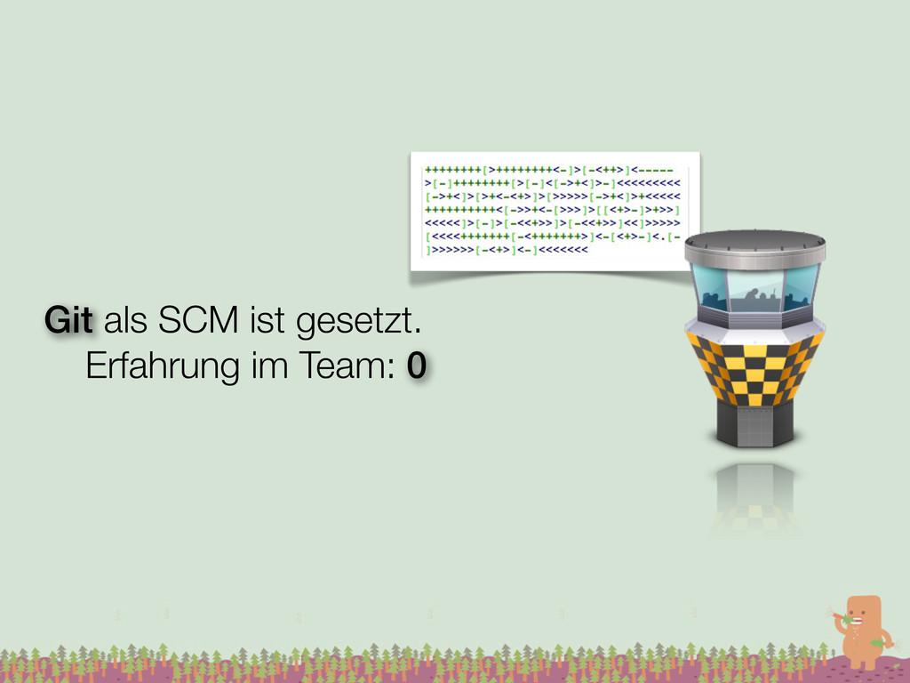 Git als SCM ist gesetzt. Erfahrung im Team: 0