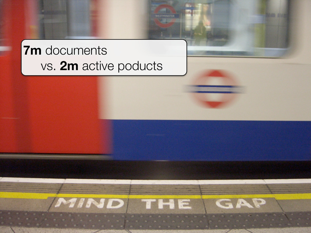 7m documents vs. 2m active poducts