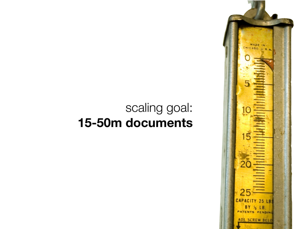 scaling goal: 15-50m documents
