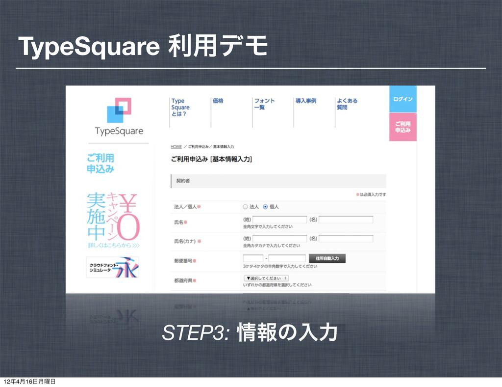 STEP3: ใͷೖྗ TypeSquare ར༻σϞ 124݄16݄༵
