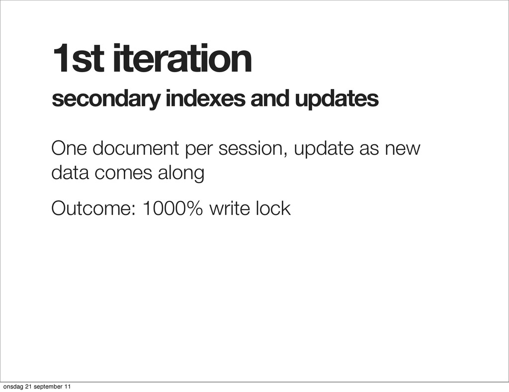 secondary indexes and updates 1st iteration One...