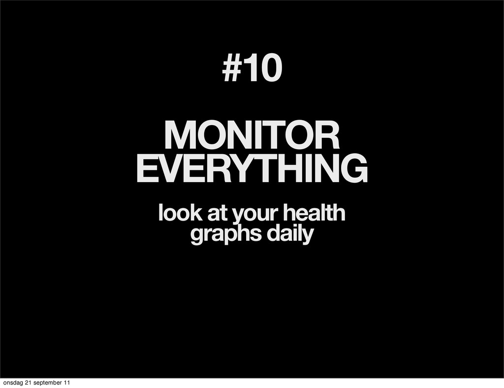 #10 MONITOR EVERYTHING look at your health grap...