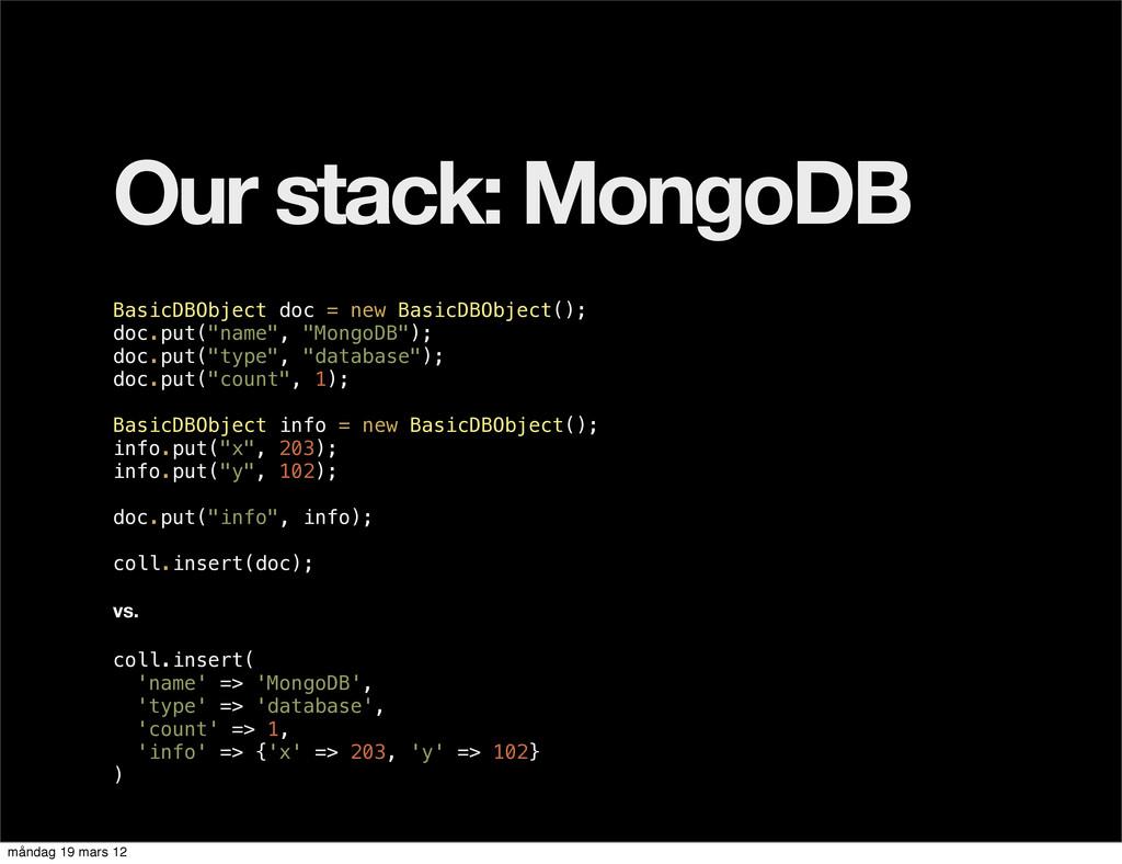 Our stack: MongoDB BasicDBObject doc = new Basi...