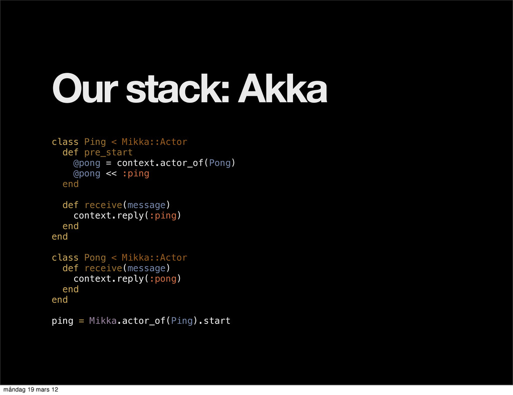 Our stack: Akka class Ping < Mikka::Actor def p...