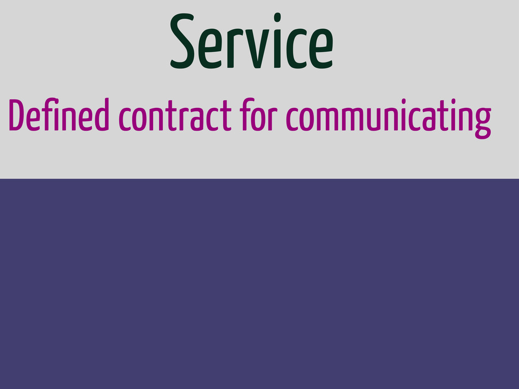 Defined contract for communicating Service