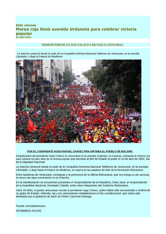 Este viernes Marea roja llenó avenida Urdaneta ...